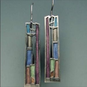 Pastel Colored Sterling Silver Earrings